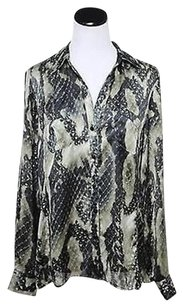 Jones New York Taupe Animal Button Down Shirt Poly Top Multi-Color