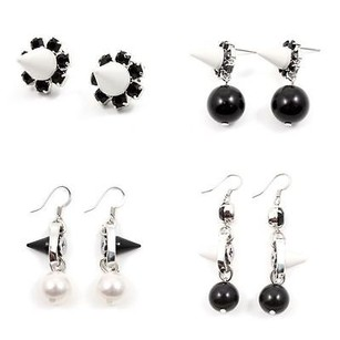 Joomi Lim Joomi Lim Dynamic Duo Sphere And Spike Earrings White White Silver