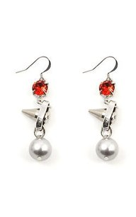 Joomi Lim Joomi Lim Shine On Crystal Pearl Silver Spikes Red Cystal Earrings