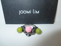 Joomi Lim Joomi Lim Tripe Ball Pink Green Shiny Enamel Ball Gunmetal Ring