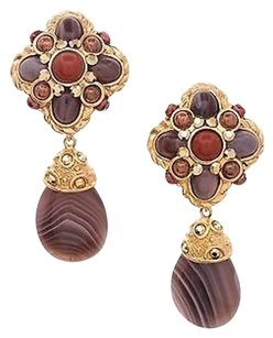 Jose & Maria Barrera Barrera Gold-tone Multicolor Bead Drop Clip-on Earrings