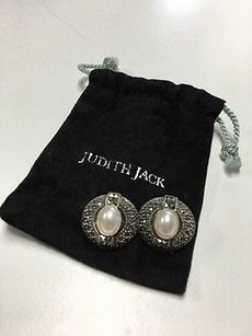 Judith Jack Judith Jack Sterling Silver Rhinestone Encrusted Faux Pearl Clip Earrings B3379