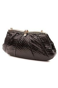 Judith Leiber Snakeskin Evening Black Clutch