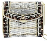 Judith Leiber Vintage Red Black White Crystal Design Gold Tone Multi-Color Clutch