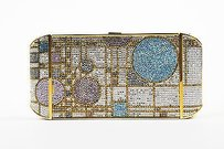 Judith Leiber Pink Gold Tone Multi-Color Clutch