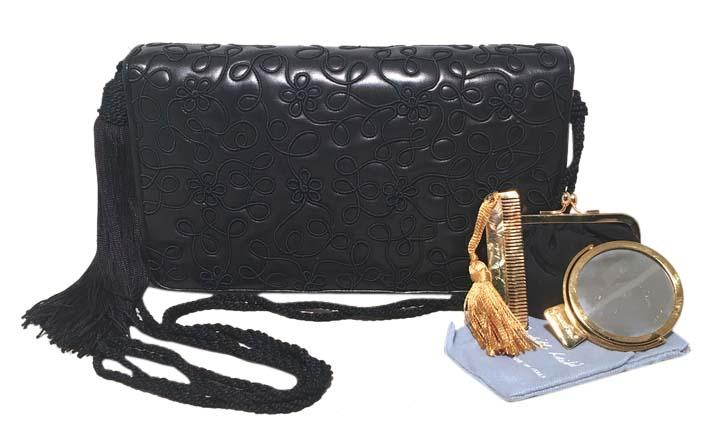 Judith Leiber Navy Blue Embroidered Leather Tassel Clutch hbsTaAdg