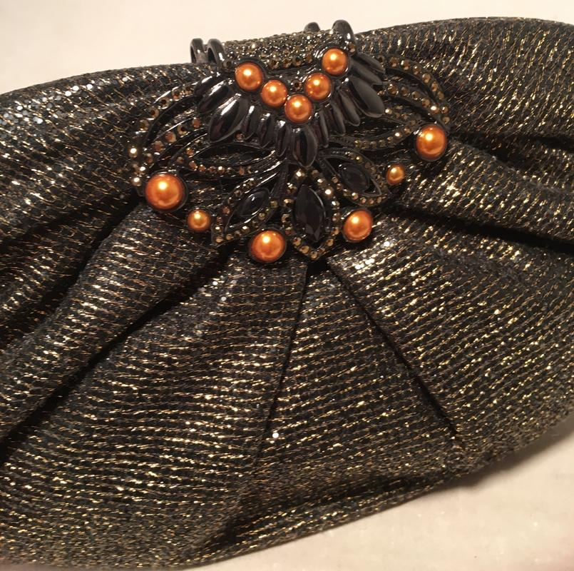 Judith Leiber Black And Gold Woven Pearl Embellished Clutch UOyy5uHxc
