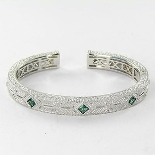 Judith Ripka Judith Ripka Estate Collection Bracelet Green Quartz Wht Sapphire 925