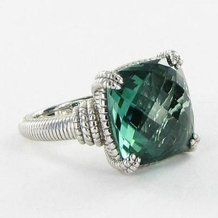 Judith Ripka Judith Ripka La Petite Ring Cushion Cut Green Quartz 925 Silver