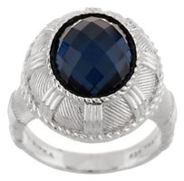 Judith Ripka Judith Ripka SS Oval Faceted Blue Hematite Ring / Sz 7