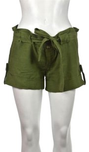 Juicy Couture Womens Causal 0 Linen Causal Cropped Trousers Shorts Green