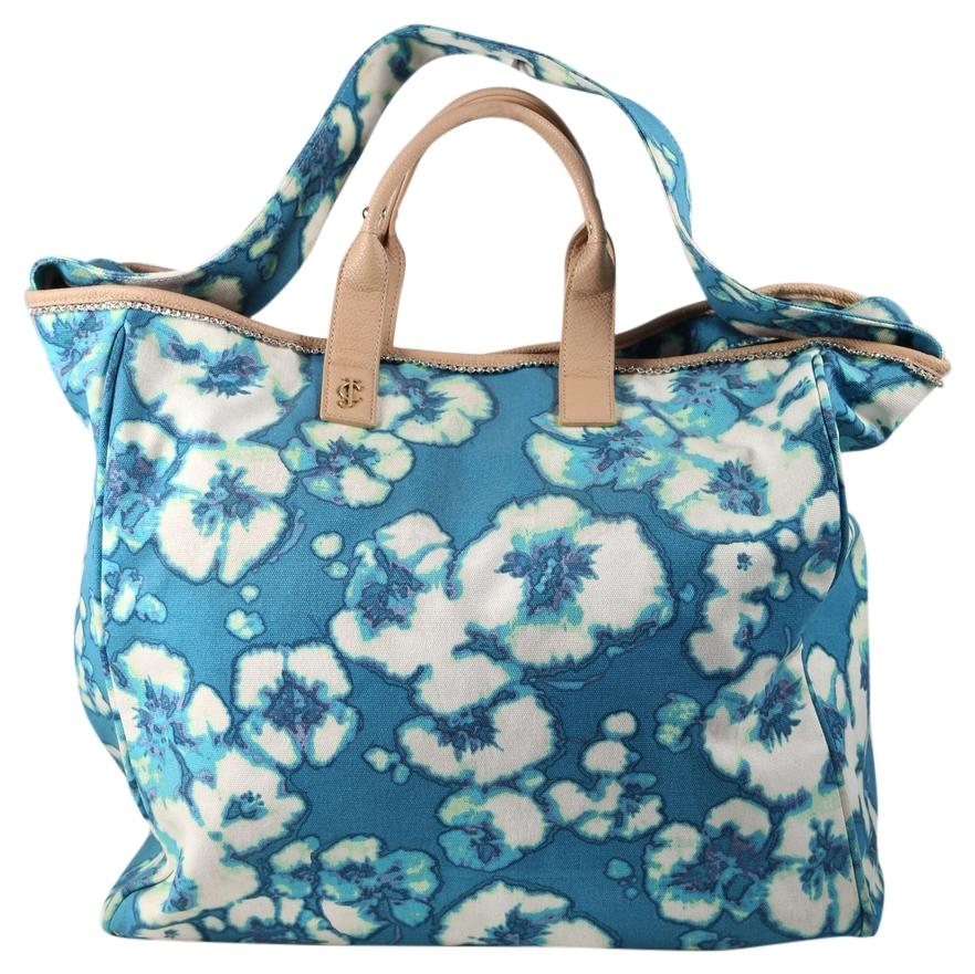 Juicy Couture * Floral Tote Blue/White Canvas Cotton Fabric Beach Bag - Tradesy
