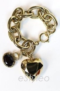 Juicy Couture Juicy Couture Bracelet Chunky Wide Toggle Heart Charm Gold Yjrus314