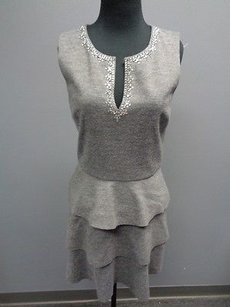 Juicy Couture Heather Polyester Blend Tiered Sheath Sma3438 Dress