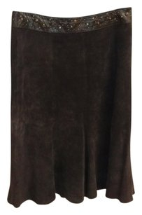 June 100%leather Silk Lining Skirt BROWN
