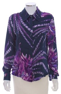 Just Cavalli Floral Silk Longsleeve Fitted Monogram Cuffed Button Down Shirt Purple