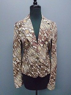 Just Cavalli Just Cavalli Brown White Reptile Print Cotton Blend Blazer Jacket 1764a