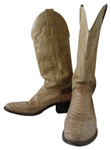 Justin Cowboy High Heel Classic Cowboy Dress Midcalf Vintage Embroidery Beige Reptile and leather Boots
