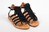 K. Jacques Suede Leather Black Sandals
