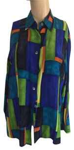 Karen and Donna Button Down Shirt Multi Color.