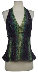 Karen Millen Womens Halter Printed Sleeveless Casual Shirt Purple, Green, Plum, Navy Halter Top