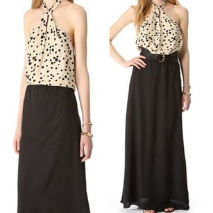 black tan Maxi Dress by Karen Zambos Gemma Maxi Dotted Bodice Halter