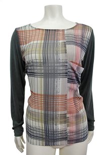Karen Zambos Sheer Plaid Ryley Long Sleeve Top Multi-Color