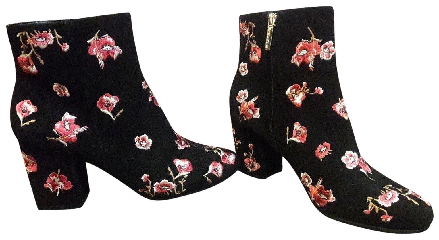Karl Lagerfeld Black & Pink Floral Paris Edith Ankle Womens Embriodered Flowers Boots/Booties Size US 8.5 Regular (M, B)