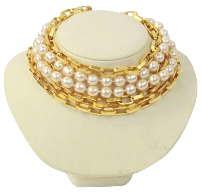 Karl Lagerfeld Gold Choker Faux Pearl Tone 5 Strands Necklace Tradesy