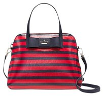 Kate Spade Blue Red Gold Leather Glazed Fabric Satchel in Rich Navy/Cherry Liqueur