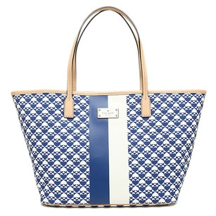 Kate Spade Blue Shopper Tote in Hyacinth and White