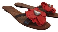 Kate Spade chocolate brown with red flower Sandals