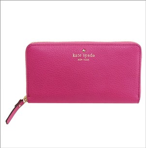 Kate Spade Kate Spade Lacey Cobble Hill Leather Wallet Zip Around Hot Pink Clutch