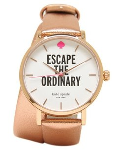 Kate Spade Kate Spade New York Womens Rose Gold-Tone Leather Strap Watch 1YRU0301