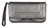 Kate Spade Kate Spade Ny Womens Silver Wristlet Wallet Leather Metallic Casual Guc