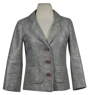 Kate Spade Kate Spade Womens Silver Tweed Metallic Blazer 0 34 Sleeve Cropped Jacket