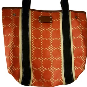 Kate Spade Like New Leather Expandable Tote in Orange & Cream