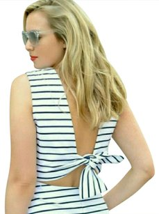 White and Navy Blue Maxi Dress by Kate Spade