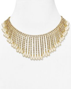 Kate Spade NWT Kate Spade Seaview Spray Statement Necklace 12K Gold Faux Pearls Crystals Bridal