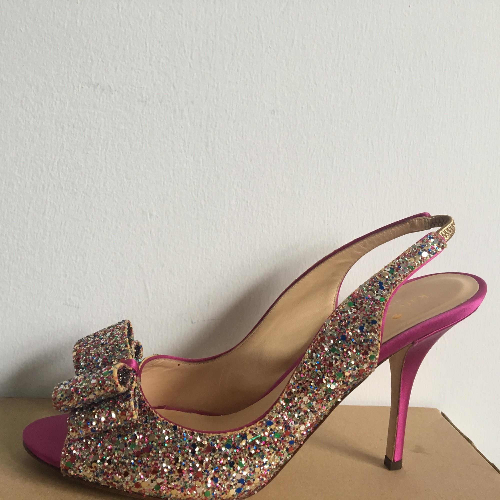 wedding shoes nyc kate spade pink new york charm glitter bow heels slingback 1129
