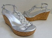 Kate Spade Metallic Leather Cork Platform Wedge Silver Sandals