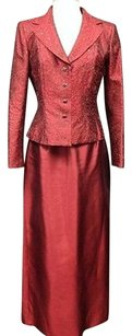 Kay Unger Kay Unger Ruby Red Silk Blend Beaded Blazer And Skirt Suit Set Sma 9462