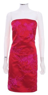 Kay Unger Polyester Beaded Embroidered Strapless Fitted Dress