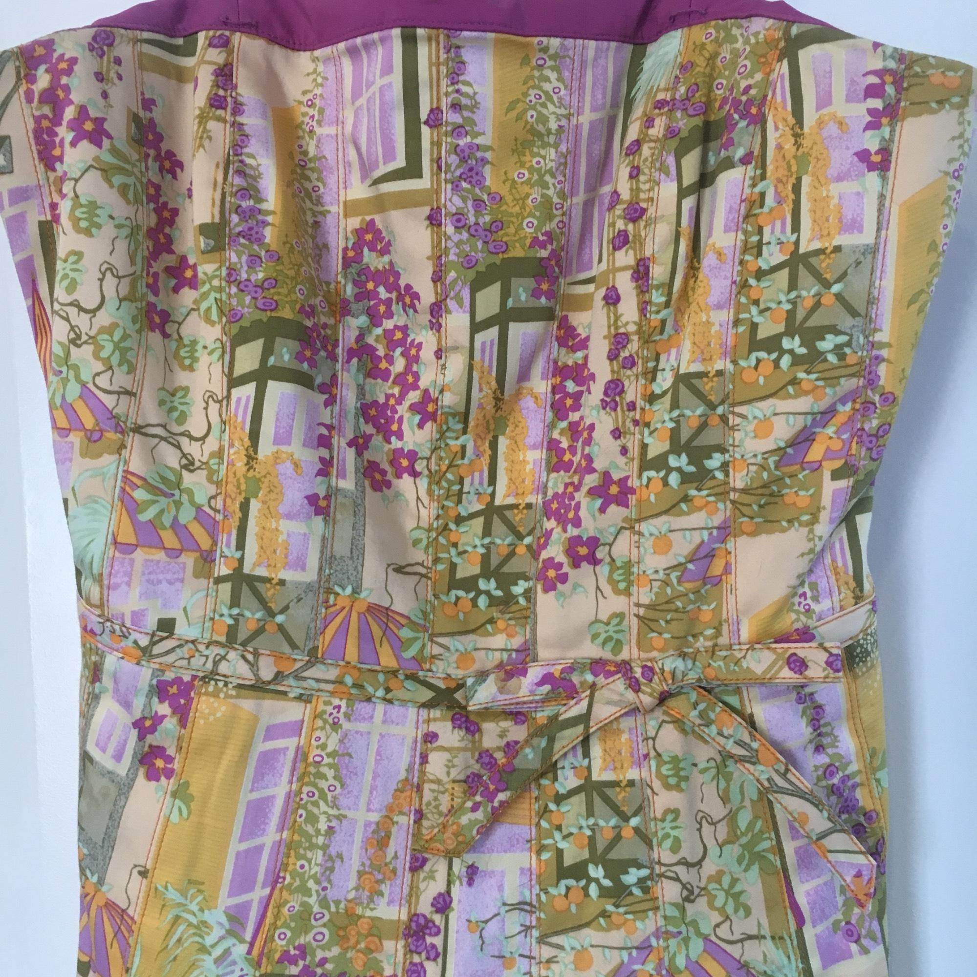 kay unger yellow pastel floral print sundress midlength