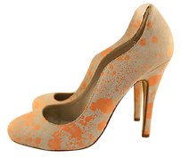 Kelsi Dagger Womens Coral Pink Classic Leather Splatter Heels Multi-Color Pumps