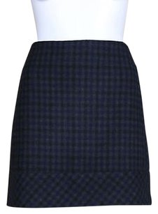 Kenar Womens Wool Plaid Above Knee Casual Skirt Navy