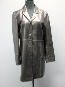 Kenneth Cole Reaction Leather Long Sleeve Lined Button Up Sm4330 Coat
