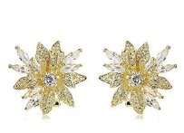 Kenneth Jay Lane Cz By Kenneth Jay Floral Spray Stud Dazzling Red Carpet Earrings