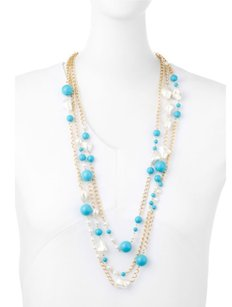 Kenneth Jay Lane Kenneth Jay Lane Three-Row Turquoise-Hue & Pearly Bead Necklace
