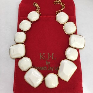 Kenneth Jay Lane NEW Kenneth Jay Lane White Statement Pebble Stone Necklace w/ POUCH!!